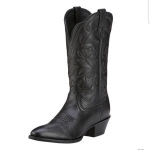 Arias Black Leather Heritage R Tor Western  Boots